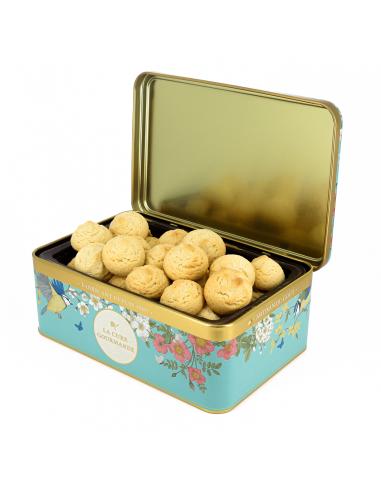 Boîte Fleurie Bleue Claire - Biscuits Fourrés au Chocolat