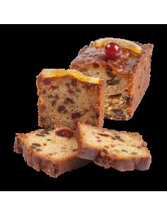Cake aux fruits confits tranché